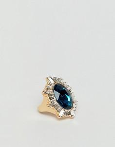 Броское золотое кольцо с кристаллами и крупным камнем ASOS DESIGN - Золотой
