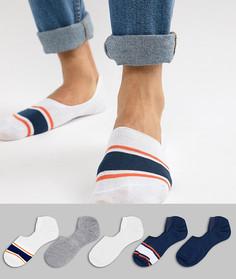 5 пар невидимых носков оранжевого и синего цвета ASOS DESIGN - Мульти