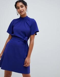 Платье с высоким воротом, короткими рукавами и поясом Closet London - Фиолетовый
