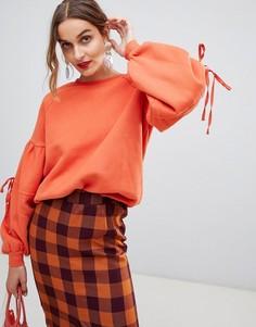 Свитшот с завязками на рукавах Lost Ink - Оранжевый