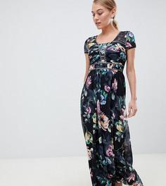 Платье макси с короткими рукавами и цветочным принтом Little Mistress Petite - Мульти