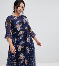 Приталенное чайное платье миди с принтом Little Mistress Plus - Мульти