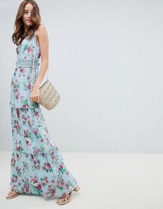 Платье с цветочным принтом и оборками Miss Selfridge - Мульти