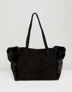Черная сумка-шоппер из замши и искусственного меха Urbancode - Черный