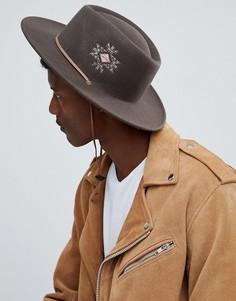 Широкополая шляпа с вышивкой и ремешком ASOS DESIGN - Коричневый