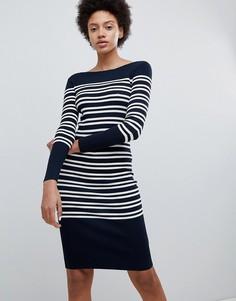 Хлопковое платье в полоску Selected Femme - Темно-синий
