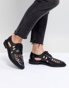 Кожаные туфли на шнуровке с решетчатой отделкой Selected Femme - Черный