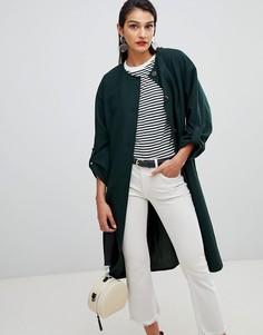 Пальто без воротника с добавлением шерсти Selected Femme - Зеленый