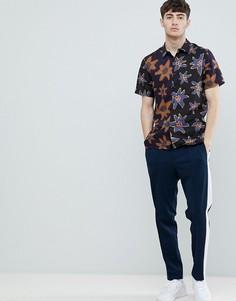 Черная рубашка с короткими рукавами и цветочным принтом PS Paul Smith - Черный