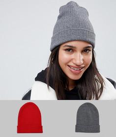 2 шапки-бини (красная и зеленая) из переработанного полиэстера ASOS DESIGN - Мульти