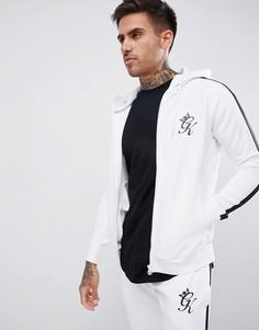 Худи обтягивающего кроя белого цвета с логотипом Gym King - Белый