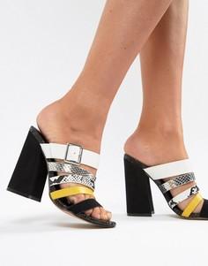 Босоножки на каблуке с разноцветными ремешками ASOS DESIGN - Мульти