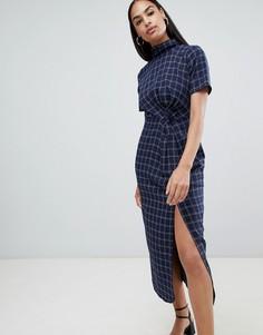 Платье миди со сборками Fashion Union - Синий