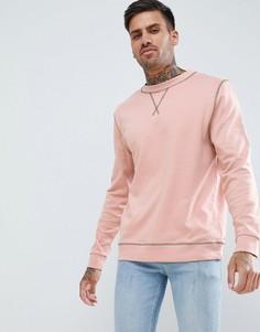 Розовый свитшот с контрастными строчками ASOS DESIGN - Розовый