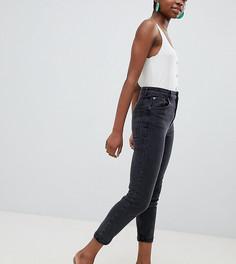 1ff06f40a5f Выбеленные черные узкие джинсы в винтажном стиле с завышенной талией ASOS  DESIGN Petite Farleigh - Черный