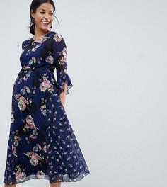 Чайное платье миди с контрастным принтом Little Mistress Maternity - Мульти