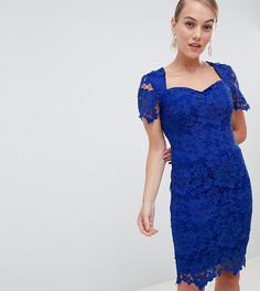 Ярко-голубое кружевное платье-футляр с вырезом сердечком Paper Dolls Petite - Синий