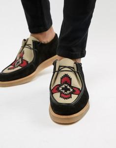 Черные замшевые туфли на шнуровке с вышивкой ASOS DESIGN - Черный