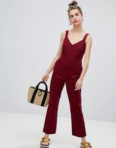 Расклешенный джинсовый комбинезон ASOS DESIGN - Красный