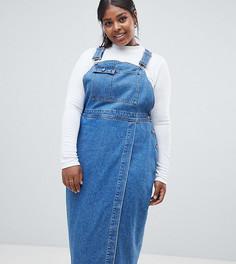 Синий джинсовый сарафан миди ASOS DESIGN Curve - Синий