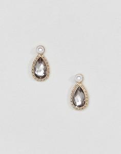 Серьги-гвоздики с камнями и жемчугом ASOS DESIGN - Золотой