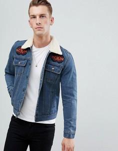 Синяя джинсовая куртка с воротником борг boohooMAN - Синий