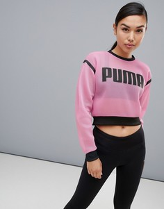 Сетчатый свитер с круглым вырезом Puma Active - Розовый