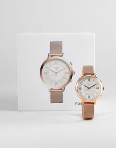 Гибридные смарт-часы 36 мм с сетчатым браслетом Fossil FTW5018 Q Jacqueline - Золотой