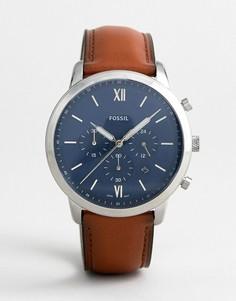 Часы-хронограф с кожаным ремешком Fossil FS5453 Neutra 44 мм - Рыжий
