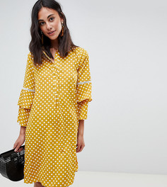 Платье-рубашка в горошек с рукавами клеш Vero Moda tall - Мульти