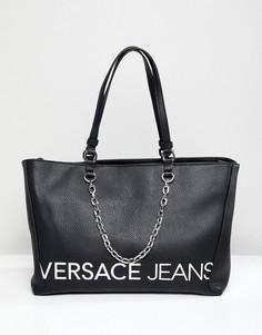 Сумка-тоут с контрастным логотипом и внутренними карманами Versace Jeans - Черный