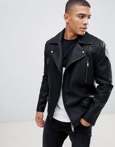 Черная байкерская куртка New Look - Черный