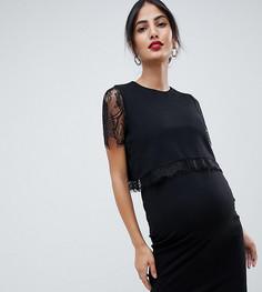 Двухслойное облегающее платье с кружевной отделкой ASOS DESIGN Maternity - Черный