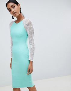 Облегающее платье с контрастными кружевными рукавами Vesper - Зеленый