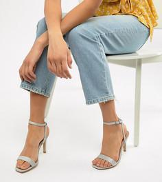 Босоножки на каблуке с квадратным носком New Look Wide Fit - Серебряный