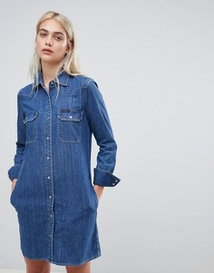 Джинсовое платье-рубашка в стиле вестерн Calvin Klein Christiane - Синий