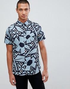 Рубашка с короткими рукавами и принтом Ted Baker - Синий