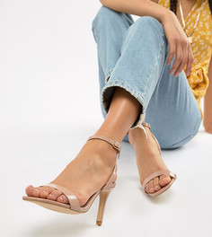 Босоножки на каблуке с квадратным носком New Look Wide Fit - Бежевый