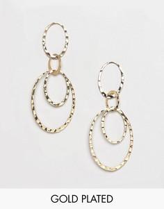 Позолоченные серьги-подвески с кольцами Pilgrim - Золотой
