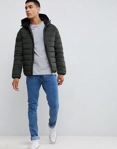 Куртка-пуховик цвета хаки с капюшоном New Look - Зеленый