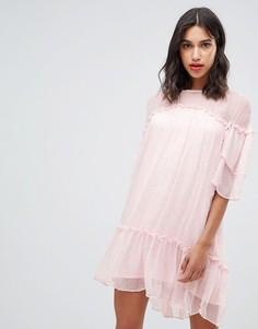 Свободное платье мини с пестрым принтом Stevie May Alder - Розовый