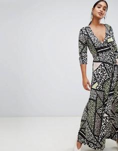 Платье макси с запахом и леопардовым принтом Liquorish - Мульти