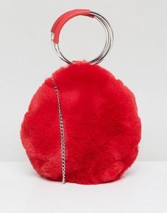 Круглая сумка из искусственного меха New Look - Красный