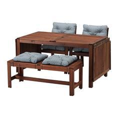 ЭПЛАРО Стол+2кресла+скамья, коричневая морилка, Иттерон синий Ikea