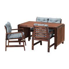 ЭПЛАРО Стол+2кресла+скамья, д/сада, коричневая морилка, Иттерон синий Ikea