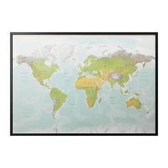 БЬЁРКСТА Картина с рамой, Планета Земля, черный Ikea