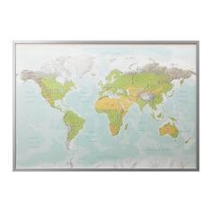 БЬЁРКСТА Картина с рамой, Планета Земля, цвет алюминия Ikea