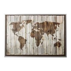 БЬЁРКСТА Картина с рамой, карта мира, цвет алюминия Ikea