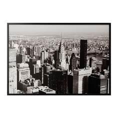 БЬЁРКСТА Картина с рамой, Мегаполис, черный Ikea