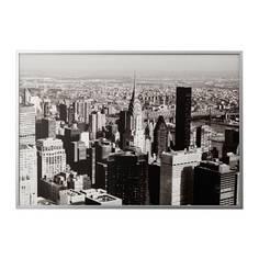 БЬЁРКСТА Картина с рамой, Мегаполис, цвет алюминия Ikea